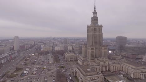 Aerial-shot-of-Palace-of-Culture-and-Science-in-Warsaw-Poland