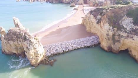 Aerial-of-Lagos-beach-ocean-and-coastline-in-Portugal
