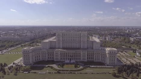 High-aerial-over-the-Palace-of-the-Parliament-in-Bucharest-Romania-1