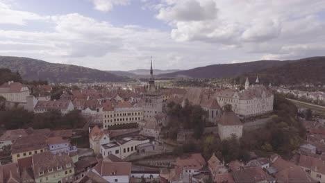 Aerial-over-a-Sighisoara-Castrum-Sex-Romania-birthplace-of-Dracula