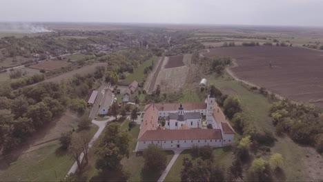 Aerial-of-Krusedol-Monastery-christian-church-near-Belgrade-Serbia
