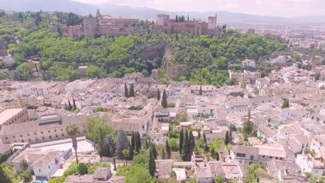 Aerial-of-Grenada-Spain-fortress-village-and-town
