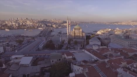 Very-good-aerial-of-Instanbul-Turkey-old-city-skyline-with-mosques-and-Bosphorus-River-bridges-distant-2