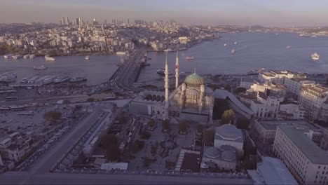Very-good-aerial-of-Instanbul-Turkey-old-city-skyline-with-mosques-and-Bosphorus-River-bridges-distant-3