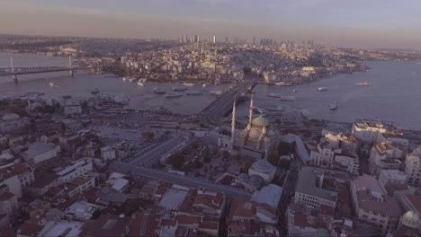 Very-good-aerial-of-Instanbul-Turkey-old-city-skyline-with-mosques-and-Bosphorus-River-bridges-distant-5