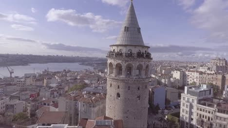 Very-good-aerial-of-Instanbul-Turkey-old-city-skyline-with-Galata-tower-and-Bosphorus-River-bridges-distant