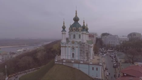 Aerial-over-a-Russian-Orthodox-style-church-in-Kiev-Ukraine