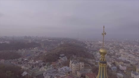 Aerial-over-a-Russian-Orthodox-style-church-in-Kiev-Ukraine-1
