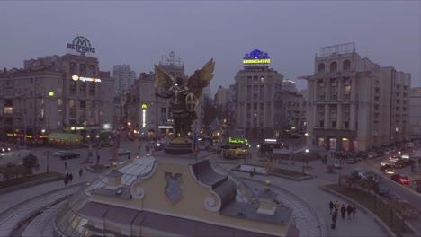 Aerial-downtown-Kiev-Ukraine-at-night