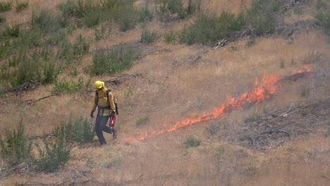 Un-Bombero-Enciende-Un-Incendio-Forestal-Prescrito-Controlado-En-Un-área-Silvestre-En-El-Condado-De-Santa-Bárbara-California-1