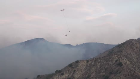 Helicopters-Make-Water-Drops-On-A-Brush-Fire-In-The-Hills-Of-Southern-California-Firefighting-Efforts