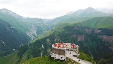 Aerial-Over-The-Russia-Georgia-Friendship-Monument-In-Rural-Republic-Of-Georgia