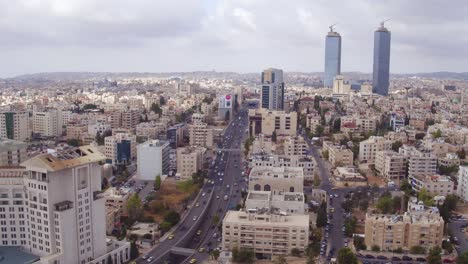 Aerial-Over-The-City-Of-Amman-Jordan-Downtown-Business-District-And-Traffic-2