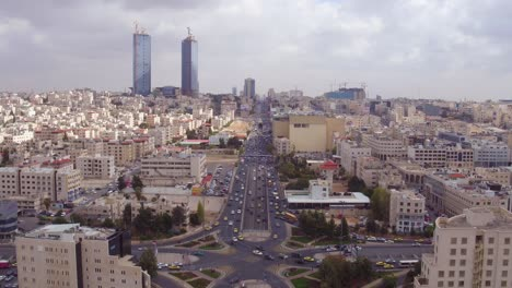 Aerial-Over-The-City-Of-Amman-Jordan-Downtown-Business-District-And-Traffic-3