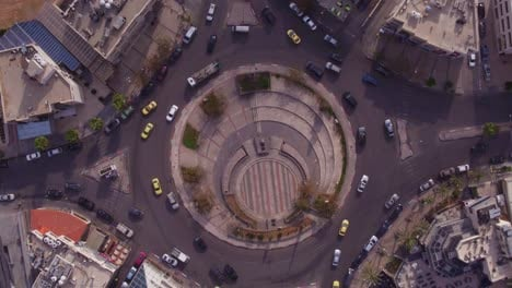 Aerial-Straight-Down-Of-Traffic-Circle-Or-Roundabout-With-Car-Traffic-Amman-Jordan-5