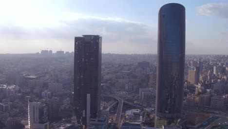 Aerial-Over-The-City-Of-Amman-Jordan-Downtown-Business-District-Skyscrapers-And-Offices