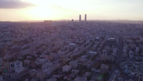 Aerial-Over-The-City-Of-Amman-Jordan-Downtown-Business-District-Skyscrapers-And-Offices-At-Sunset