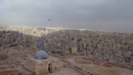High-Aerial-Over-The-Old-City-Of-Amman-Jordan-On-A-Stormy-Day-2