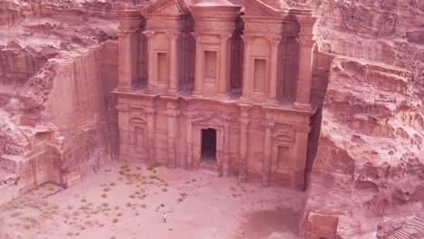 Beautiful-Aerial-Of-The-Monastery-Building-In-Petra-Jordan