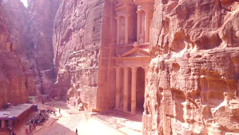 Beautiful-Aerial-Of-The-Treasury-Building-In-Petra-Jordan
