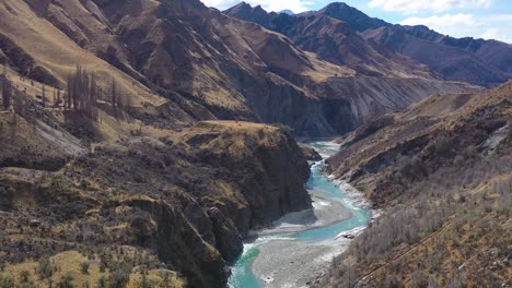 Aerial-Over-The-Shotover-River-Valley-Near-Queenstown-New-Zealand