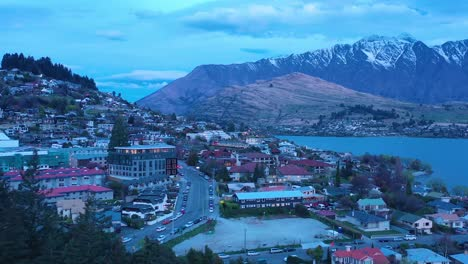 Aerial-Over-Queenstown-New-Zealand-At-Night-Or-Dusk