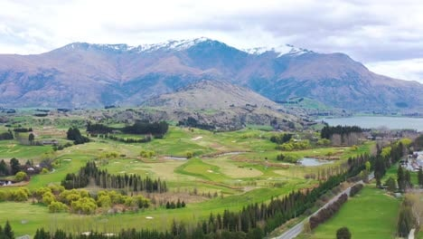 Beautiful-Aerial-Over-A-Golf-Course-Near-Queenstown-In-The-South-Island-Of-New-Zealand