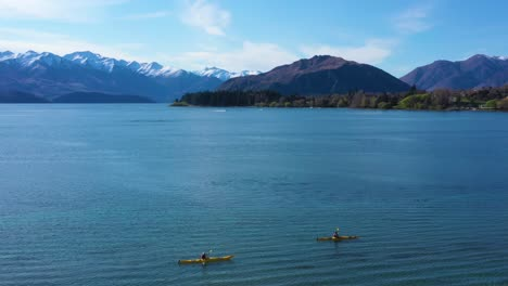 Aerial-Over-Kayakers-Kayaking-On-Lake-Wakatipu-In-The-South-Island-Of-New-Zealand