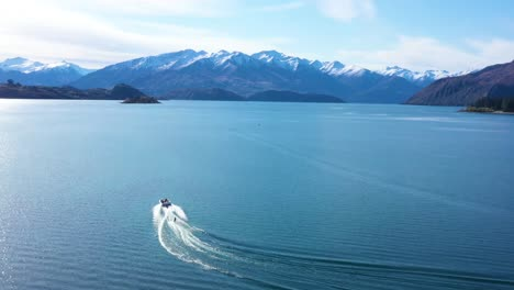 Aerial-Over-A-Water-Skier-Water-Skiing-On-Lake-Wakatipu-On-The-South-Island-Of-New-Zealand