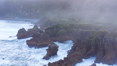 Aerial-Around-The-Pancake-Rocks-Geological-Formations-On-The-Coast-Of-South-Island-Of-New-Zealand-1