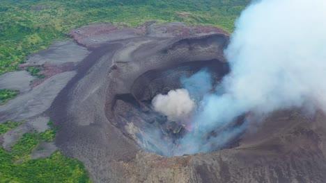 Stunning-Dramatic-Aerial-Over-Mt-Yasur-Volcano-Volcanic-Eruption-Lava-On-Tanna-Island-Vanuatu-3