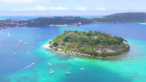 Good-Aerial-Establishing-Shot-Over-Port-Vila-Vanuatu-And-Iririki-Island-Resort-And-Spa