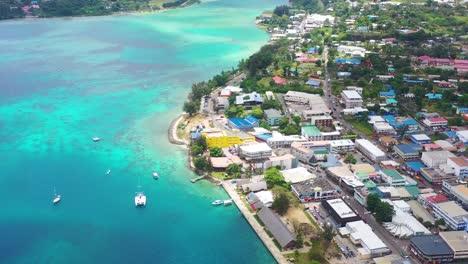 Good-Aerial-Establishing-Shot-Over-Port-Vila-Capital-Of-Pacific-Island-Vanuatu-Melanesia-Downtown-City