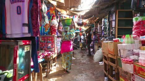 Pov-Shot-Walking-Through-Crowded-Market-Stalls-In-Bissau-In-Guineabissau-West-Africa