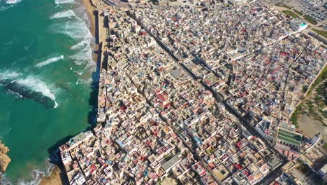 High-Aerial-Over-The-Ancient-City-Of-Essaouira-Morocco-With-Ramparts-And-Medina