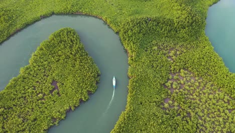 Amazing-Top-Down-Aerial-Over-Small-Boat-Moving-Along-The-Gambia-River-In-West-Africa