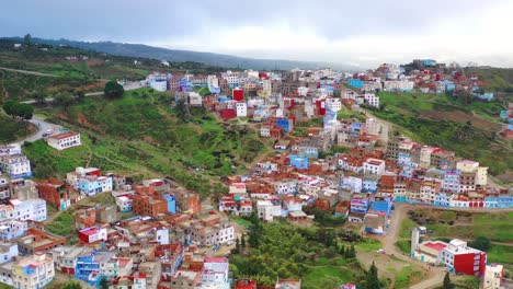 Aerial-Over-The-Blue-City-In-Morocco-On-Hillside-In-North-Africa