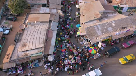 Aerial-Over-West-African-Street-Market-In-Gambia