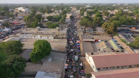 Aerial-Over-West-African-Street-Market-In-Gambia-1