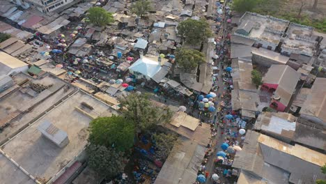 Aerial-Over-West-African-Street-Market-In-Gambia-2