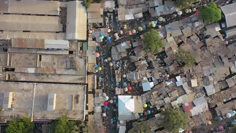 Aerial-Over-West-African-Street-Market-In-Gambia-3