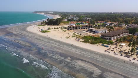 Aerial-Over-A-Hotel-Or-Large-Estate-On-The-Coast-Of-Gambia-West-Africa-1
