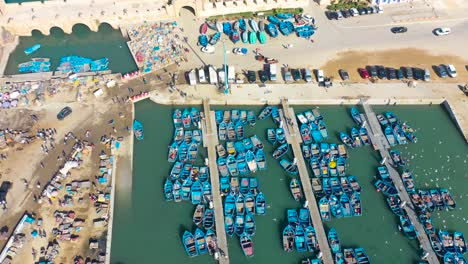 Beautiful-Aerial-Top-Down-View-Of-Blue-Boats-In-The-Harbor-At-Essaouira-Morocco-With-Birds-Flying-Above