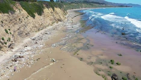 Aerial-Over-The-Beautiful-Coastline-Of-Santa-Barbara-California-Near-Carpinteria-Bluffs