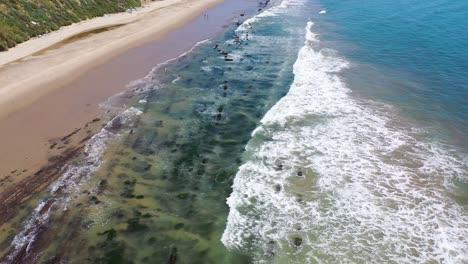 Aerial-Over-The-Beautiful-Coastline-Of-Santa-Barbara-California-Near-Carpinteria-Bluffs-1