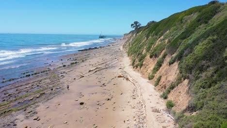 Aerial-Over-People-Enjoying-The-Beautiful-Coastline-Of-Santa-Barbara-California-Near-Carpinteria-Bluffs-4