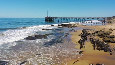 Aerial-Seals-Bask-In-A-Rookery-On-The-Beach-Near-Carpinteria-Bluffs-Santa-Barbara-California