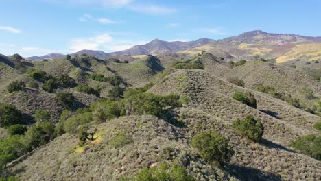 Beautiful-Aerial-Over-Remote-Hills-And-Mountains-In-Santa-Barbara-County-Central-California