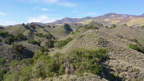 Beautiful-Aerial-Over-Remote-Hills-And-Mountains-In-Santa-Barbara-County-Central-California-1