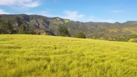 Beautiful-Aerial-Over-Grassland-And-Remote-Hills-And-Mountains-In-Santa-Barbara-County-Central-California